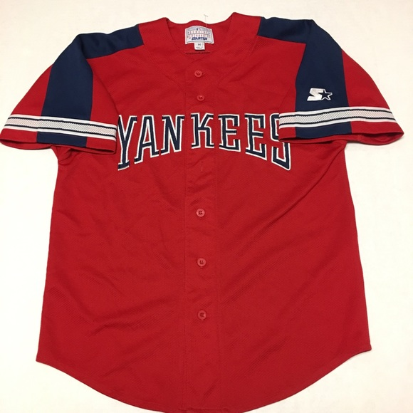 f3c993b6d Starter New York Yankees red stretched mlb jersey.  M 5aadce9a72ea8887c29b3f7d